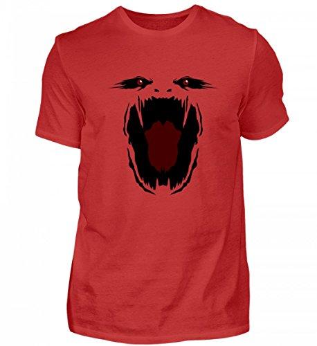 Shirt - Monster Gesicht Gruselig Halloween - Schlichtes und Witziges Design (Monster Energy Kostüm)