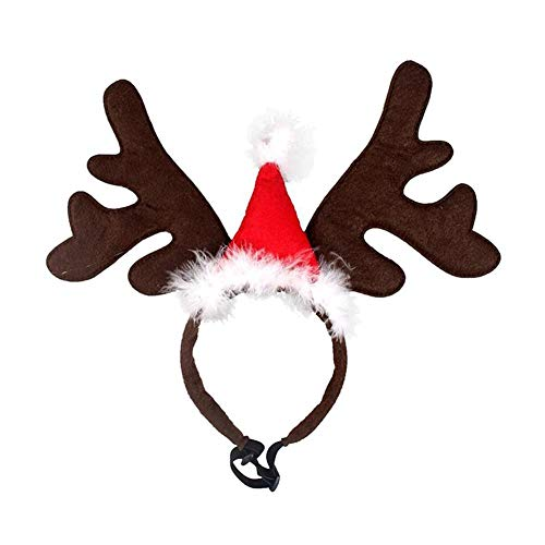 Loveless Land Weihnachten Rentier Kopfschmuck Rentier Geweih Stirnbänder Weihnachtsfeier Kostüm Neuheit Zubehör für Ihr Haustier (Red Hat) (Neuheit Weihnachtsmützen Kostüm)