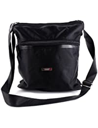 LADIES NEW HIGH QUALITY CROSS OVER BODY MESSENGER UTILITY HANDBAG IN BLACK