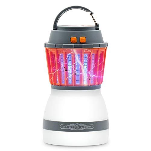 Tecomax, lanterna da campeggio antizanzare, portatile e con impermeabilità ip67, led 2 in 1, luce uv, lampada antizanzare con batteria ricaricabile da 2200 mah, gancio retrattile e paralume rimovibile