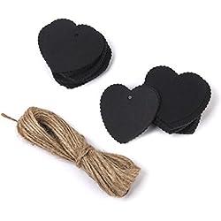 100 Etiquetas de Carton forma corazón negro con cuerda de Yute