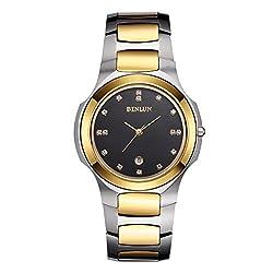 BINLUN Gents Luxury 18k Gold Plated Tungsten Japanese Quartz Wrist Watch for Men with Date, Diamonds
