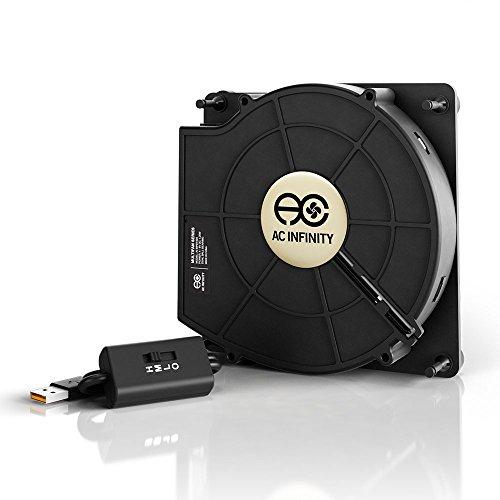 AC Infinity MULTIFAN S2, Leiser 120mm USB Gebläse Ventilator mit Geschwindigkeitsregler, für Receiver DVR Xbox Modem AV Schrank Kühlung
