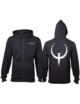 Quake con capucha de la chaqueta del juego del logotipo negro