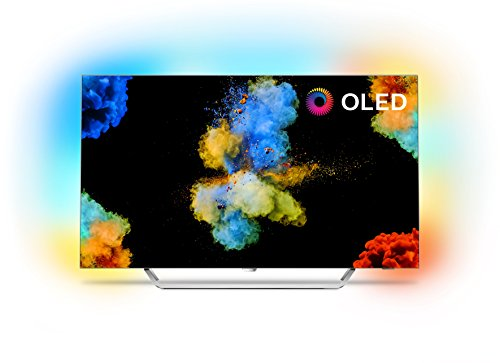 Philips 55POS9002/05 55-Inch 4K Ultra HD OLED TV with Android Smart TV, Ambilight 3-sided, HDR Perfect, Freeview HD, 30w Sound - Silver
