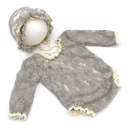 Lyguy, Babymütze, Jumpsuit, 1 Set Baby-Fotografie-Requisite, Spitze, exquisit Bestickt, für Neugeborene, Mädchen, V-Rücken, niedliches Kostüm, Fotos, Jungen, Kinder, Strampler Kleidung - 4# (Zukunft Erinnerungen Kostüm)