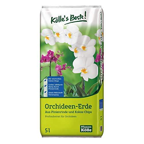 Kölle's Beste! Orchideenerde 5 Liter - Spezialerde für Orchideen mit Spaghnum-Moos - Profisubstrat aus Pinienrinde, Kokoschips für Phalaenopsis - Gärtnerqualität