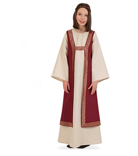 (KarnevalsTeufel Kleid Burgund Kinder-Kostüm Mittelalter-Mädchen-Kleid (152))