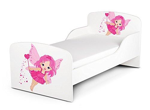 Leomark KINDERBETT 140x70 Funktionsbett Einzelbett mit Matratze Motiv: Gute Fee Sehr Einfache Montage Kleinkind Bett Tinkerbell