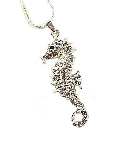 Silber Sea Horse Kristall mit Fancy Dress Halskette Anhänger Kostüm Geschenk (Lady Kostüm Diva)