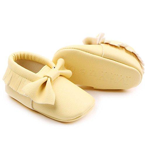 Gosear Niedlich Quaste Stil Kleinkind Baby Junge Mädchen Kleinkinder Schuhe mit Bowknot Weiche Sohle Goldene Größe 11 Gelb