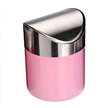 dingdangbell Edelstahl Mini Garbage können Tisch Schreibtisch Trash Müll Aufbewahrung Eimer zinntheken Trash Can & Swing Deckel Haushalt 1,5l