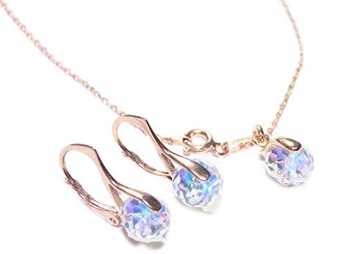 Ah! Jewellery AB8mmBriolette-ROSE-2pcsSET