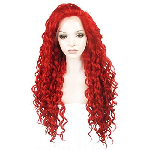 Ebingoo Bright Red Curly Lace Front Perücke für Frauen Lange Rote Verworrene Lockige Weiche Synthetische Spitzeperücken Hitzebeständige Faser -