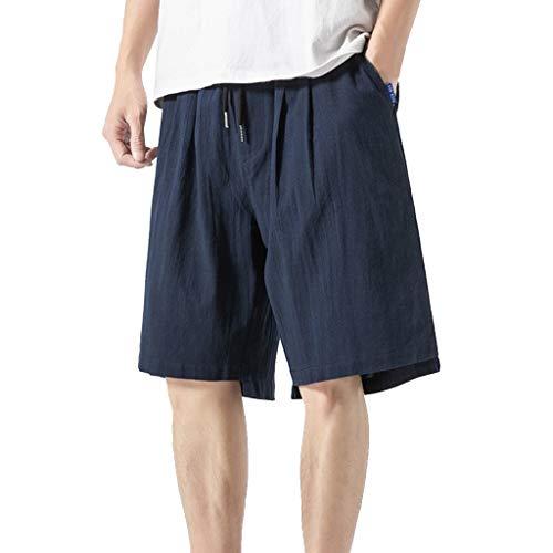 GreatestPAK Herren Sommer Haremshosen Jogger Fitness Short Trousers Loose Solid Color Lässig Baumwolle Leinen Shorts,Marine,EU:S(Tag:L) - Solid Knit Short