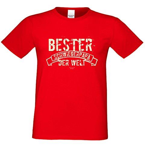 Sprüche-Fun-T-Shirt als Weihnachtsgeschenk für Ihren Papa Schwiegervater Bester Schwiegerpapa der Welt auch in Übergrößen 3XL 4XL 5XL in: rot Rot