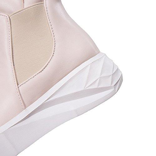 VogueZone009 Femme Pu Cuir Haut Bas Couleur Unie Tire à Talon Correct Bottes Beige