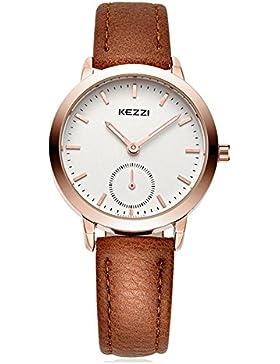 Mode Leder Uhrenarmband Quarz Damen Armbanduhren Für Paar, Braun