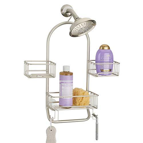 mDesign Duschablage zum Hängen – praktisches Duschregal ohne Bohren aus rostbeständigem Metall – 3 Duschkörbe zum Hängen, 4 Haken und Handtuchstange für Duschzubehör – mattsilber