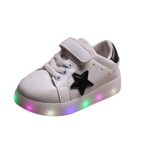 YHNEW Led Kinder Schuhe leuchten Outdoor Shoes Leuchtende Kids Sport Sneaker Weiß 24