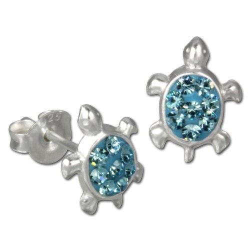 Teenie-Weenie Ohrstecker blau Ohrringe Silber Schildkröte Kinder D1SDO8006H -