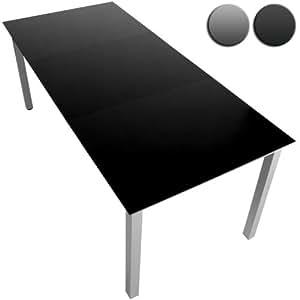 Miadomodo Table De Jardin En Aluminium 190 X 87 Cm Plateau En Verre Noir Cadre Gris