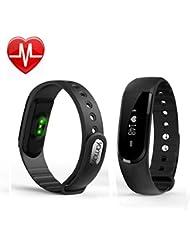 YAMAY® Fitness Armband mit Pulsmesser,Wasserdicht IP67 Fitness Tracker Aktivitätstracker Bluetooth Smart-Armband Schrittzähler für iOS und Android Handys