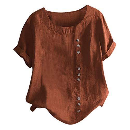 Lazzboy Damen Casual Loose Button Plus Size Täglich Boho Tanic T-Shirt Bluse Tops Sommer Einfarbig Kurzarm Tunika Blusen Leicht Asymmetrisch Shirt(Braun,S) -