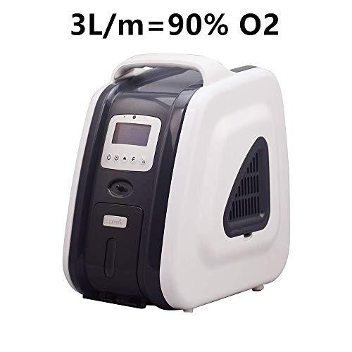 Purificatore d'aria portatile, 1-5 l/min, Generatori di Ossigeno concentratori regolabili93% Elevata purezza per Uso Domestico in Auto Uso