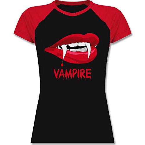 Shirtracer Halloween - Vampire Blut - Zweifarbiges Baseballshirt/Raglan T-Shirt für Damen Schwarz/Rot