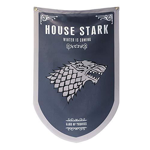 [95Cm X 60CM] Game of Thrones póster, Casa de Juego de Tronos Bandera, Stark Flag para Bar House Party Decoration