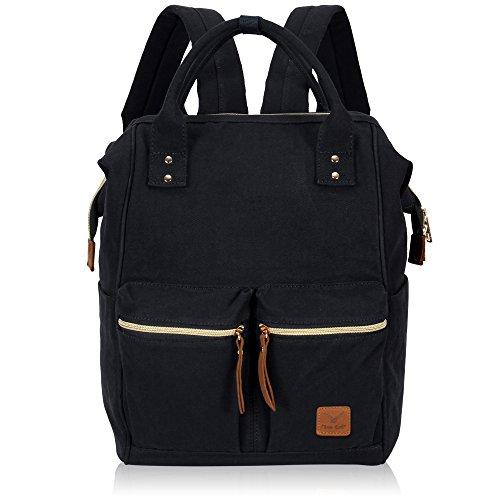Imagen de veevan bolso  casual de lona para ordenador portátil de 15,6 pulgadas unisex negro 01