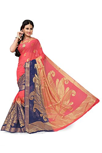 RUHIN Fuzzy Peach and Navy Blue Colour Designer Jumbo Border Viscose Georgette...