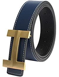 QHA Mens Designer Letter H Leather Belt For Men Luxury Casual Pin Buckle  Gift e18f47dc925