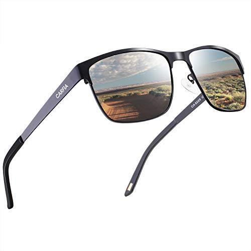Carfia Polarisierte Herren Sonnenbrille Modische Metallrahmen Fahrer Brille UV400 Schutz CAT 3 (Metall Gestell: Schwarz, Gläser: Silbrig) -