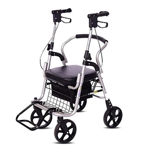 CIDX Transport Rollator Walker Mit Sitz Und Rädern, Gepolsterte 3-in-1-Rollator-Sitzauflage, Abnehmbare Fußstützen Und Einkaufstasche, Höhenverstellbarer Klapprollstuhl Mit Handlauf -