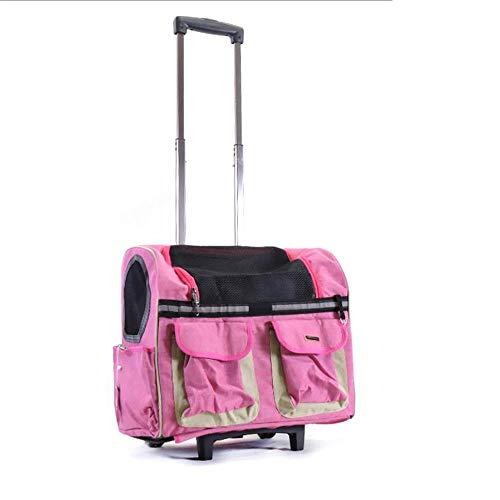 FeiGuoQiang Borsa da Viaggio per Animali Domestici, Valigia per Animali da Compagnia, Pieghevole, Ruota Girevole a 360 °, Custodia, Attrezzatura da Viaggio per Cani e Gatti Scalabile (Color : Pink)