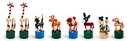 Small Foot by Legler Drücktiere aus Holz, 8 verschiedene Tierchen wackeln lustig auf Knopfdruck, ideal als Gastgeschenk an Kindergeburtstagen oder für die Schultüte geeignet, mit Spaß auf Knopfdruck