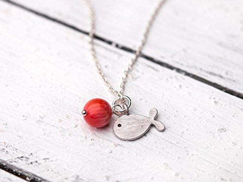 Zarte Silber-Kette mit Fisch-Anhänger und Koralle, 925er Sterling-Silber, rosa-pink, für Mädchen, das perfekte Geschenk (Perfekte Fische)