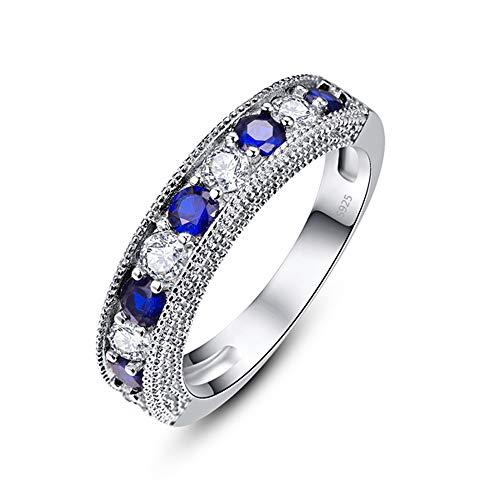 Gem Cut Blue Tansanit Hochzeit Verlobungsring Weißer Zirkonia 925 Sterling Silber Ring für Frauen (60 (19.1))