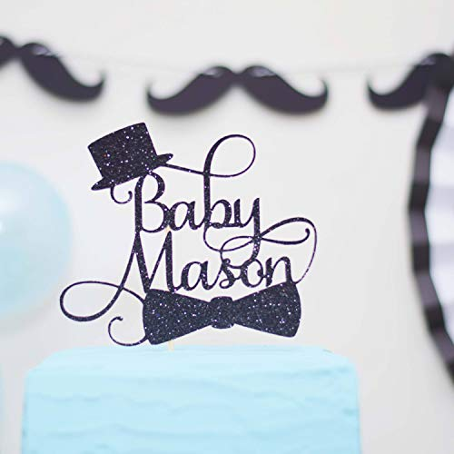 Little Man Baby Shower Cake Topper Welcome Little Gentleman Moustache Top Hat Bow Tie (Tree Topper Bow)