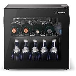 Inventor Vino Cave à Vin Réfrigérée 43L, Porte Vitrée Réversible à Filtre UV, Contrôle de Température Mécanique de 2° C à 21° C, Faible Niveau Sonore