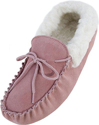 Lambland Chaussons mocassins en daim véritable et peau de mouton pour femme Semelle en daim Rose - Rose pâle