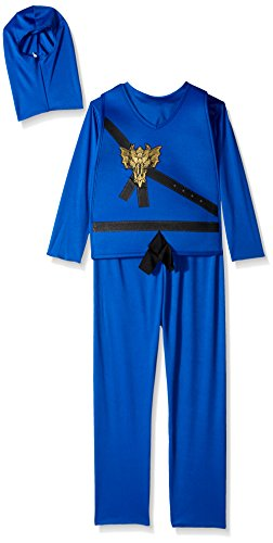 Blau Kostüm Ninjago - Charades Ninja Master blau Kinder Kostüm Ninjago (Kinder Small 6/8)