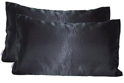 Paket mit 2 x beties Glanz Satin Kissenbezug 40x80 cm anschmiegsam & edel 100% Polyester in 4 beliebten Größen (Schwarz)