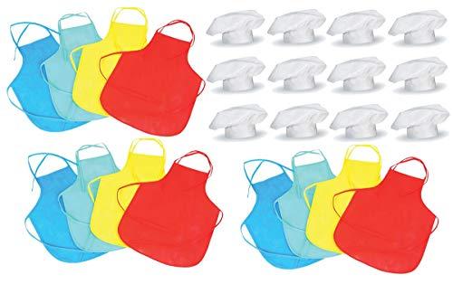 Kostüm Elementare - Kinder Kochmützen und Schürzen, 12 Sets für Kostüme, Kochen, Wettbewerbe, Backen oder Pizza-Partys