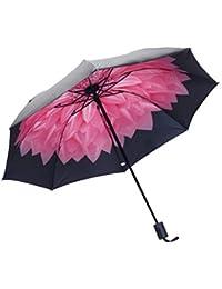 shangjunol A Prueba de Viento Plegable Paraguas Muchachas de Las Mujeres de los Hombres UV sombrilla