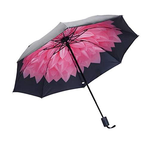 shangjunol A Prueba de Viento Plegable Paraguas Muchachas de Las Mujeres de los Hombres UV sombrilla Paraguas de la Lluvia Negro Pegamento Parasol Ultravioleta-Prueba