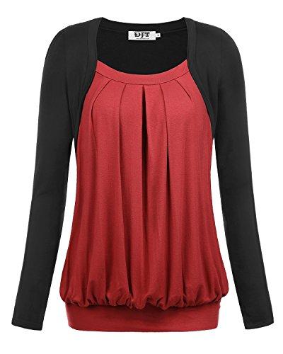 DJT Femme T-shirt 2 en 1 Drape Plisse Col rond Manches longues Elastique Bordeaux XXL