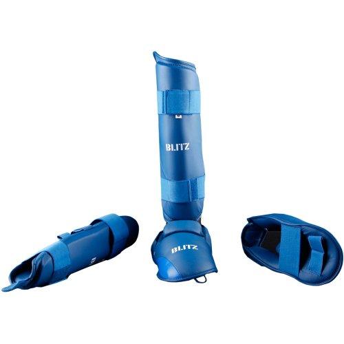 Polyurethan-Schienbeinschutz Elite mit abnehmbarem Fuß Blau